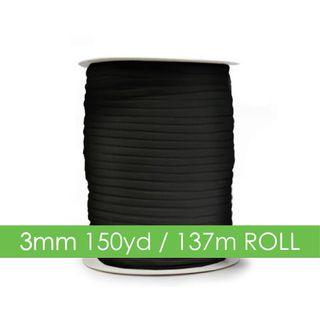 ELASTIC 3MM X 150YARD (137.1MTS) BLACK