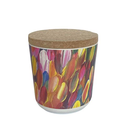 "Bamboo Food Canister 4""-Gloria Petyarre"