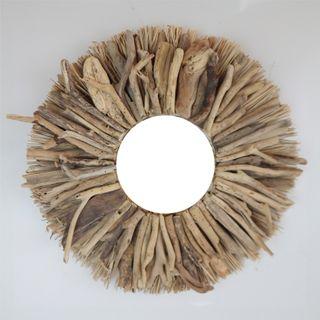 Aman Driftwood/Grass Mirror 50cm dia /Mirror 19cm