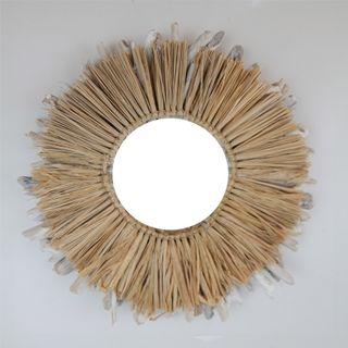 Aman Grass/Driftwood Mirror 50cm dia /Mirror 19cm
