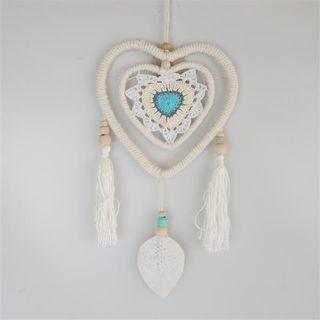 Gypsy Heart Leaf Dreamcatcher Cream/Aqua 18cm x 35cm long
