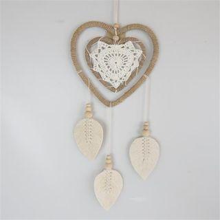 Leaf Double Hoop Heart Dreamcatcher 17cm x 40cm long