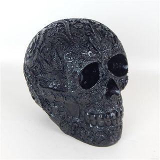 Resin Skull Large Black 14cm w x 18cm x 18cm high