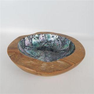 Kalu Teak/Paua Bowl  12cm x  25cm dia