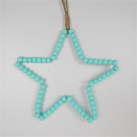 Beaded Star Aqua 30cm x 30cm high
