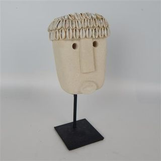 Papua Mask w Shell on Stand 9cm x 22cm high