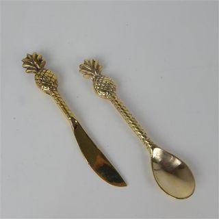Brass Tropical Pineapple Spoon 13cm