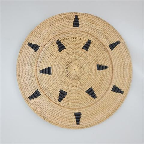 Lombok Deco Plate Natural w Blk Triangles 60cm dia