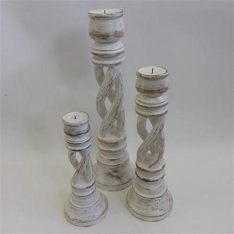 Tornado Candlesticks s/3 White 30/40/50cm high