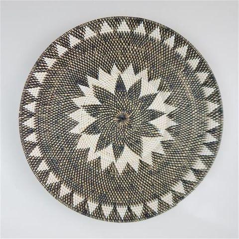 Lombok Deco Plate Black/White Triangles 60cm dia