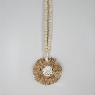 Raffia Circle Necklace 13cm x 40cm