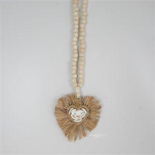 Raffia Heart Necklace 13cm x 40cm