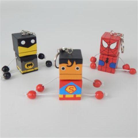 Superhero Keyrings s/3 Super/Spider/Bat 10cm