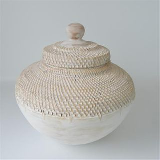 Lombok Wood/Rattan Pot Whitewash 40cm x 40cm high