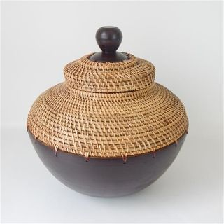 Lombok Wood/Rattan Pot Antik Brown 40cm x 40cm high
