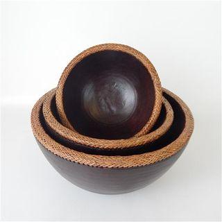 Lombok Wooden Bowls s/3 Antik Brown 20cm/25cm/30cm dia