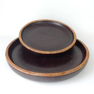 Lombok Wooden Trays s/2 Antik Brown 40cm / 50cm dia