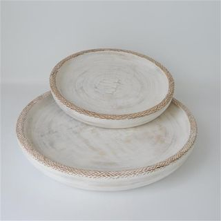 Lombok Wooden Trays s/2 Whitewash 40cm / 50cm dia