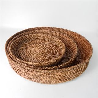 Lombok Round Trays s/3 Antik Brown 35cm/40cm/45cm
