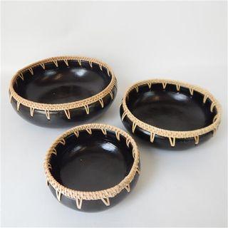 Lombok Bowls w Rattan s/3 16cm / 20cm / 28cm dia