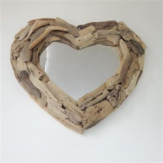 Driftwood Heart Mirror 40cm x 37cm high