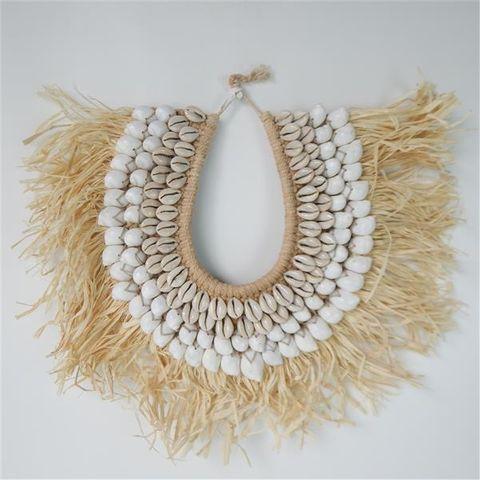 Papua Straw Necklace w Stand 45cm x 60cm high