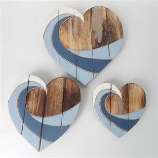 Wooden Slat Hearts s/3 Blues 15cm/20cm/25cm