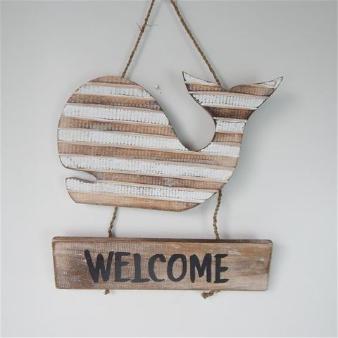 Slat Whale Welcome 30 x 30cm Nat/White