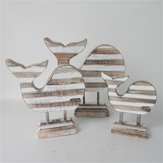 Slat Whales on Stand s/3 16x17/20x21/26x27cm