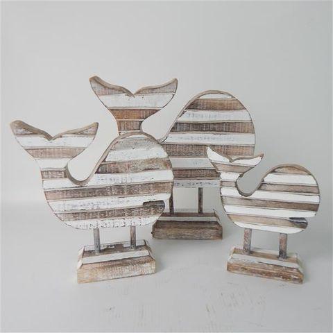 Slat Whales on Stand s/3 16x17/20x21/26x27cm