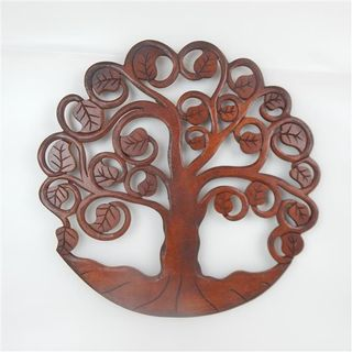 Carved Tree of Life Brown 40cm dia