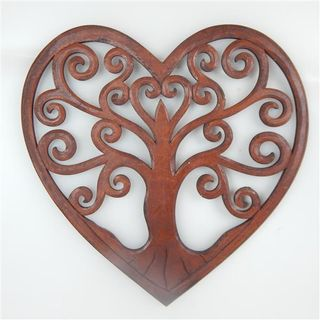 Carved Heart Tree of Life Brown 40cm dia