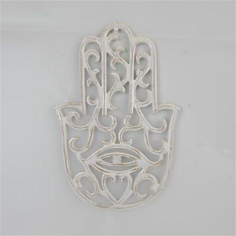 Carved Hasma Hand Whitewash 20cm x 30cm