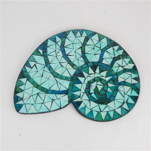 Sardina Glass Tiled Nautilius Shell 32cm x 25cm high