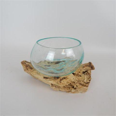 Driftwood Bowl Glass Vase Sml Approx 12cm x 12cm high