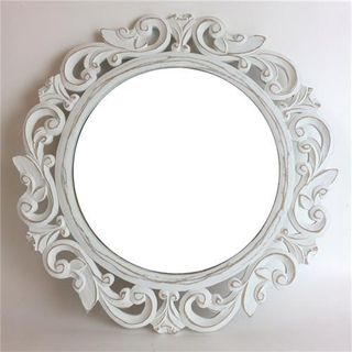 Carved Round Mirror Whitewash 50cm dia