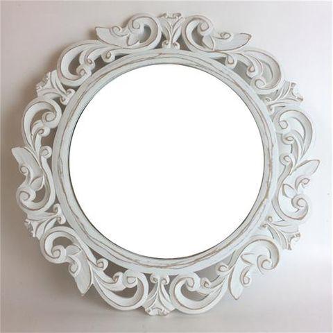 Carved Round Mirror Whitewash 50cm dia