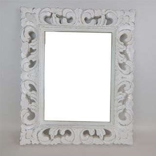 Carved Rectangle Mirror Whitewash 50cm x 60cm