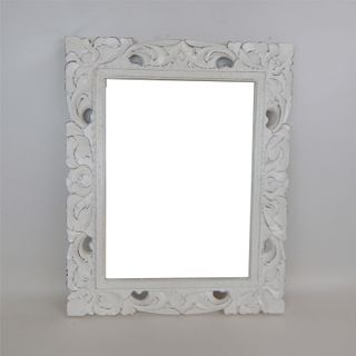 Carved Rectangle Mirror Whitewash 42cm x 54cm