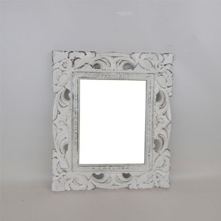Carved Rectangle Mirror Whitewash 32cm x 38cm high