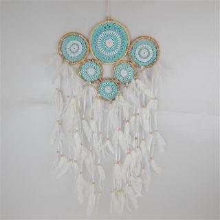 Gypsy Multi Dreamcatcher 6 Rings Aqua 40cm x 70cm long