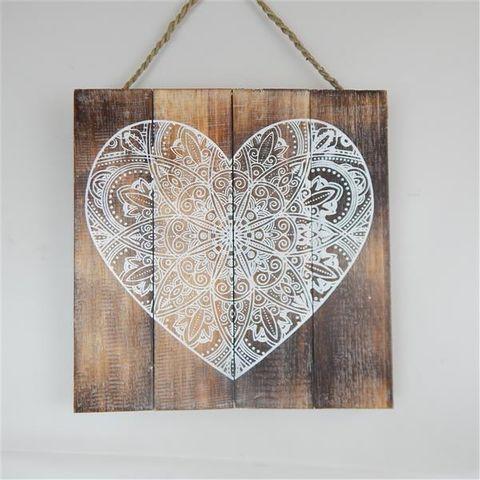 Wall Mandala 3 Heart Nat/White 30cm x 30cm high