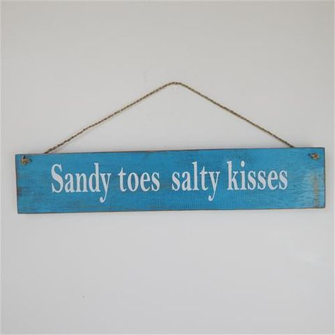 """Wooden Plank Sign """"Sandy Toes"""" 50cm x 10cm"""