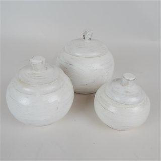 Ganti Pots s/3 Whitewash 9cm/11cm/13cm dia