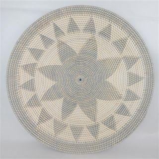 Lombok Deco Plate Flower Grey/White  60cm dia