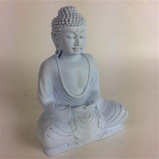 Resin Matte Buddha White 30cm high