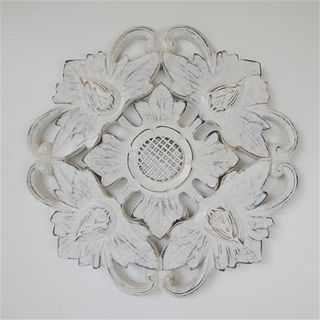 Carved Circle Flower Whitewash 40cm