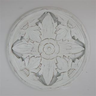 Carved Circle Floral Whitewash 40cm