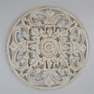 Carved Circle Floral Fine Whitewash 40cm