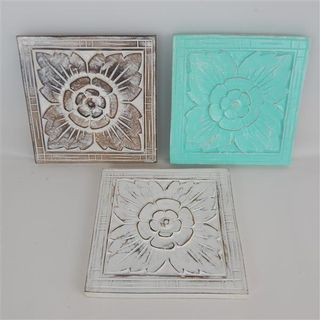 Carved Square Panel s/3 White/Grey/Sea Green 20cm x 20cm
